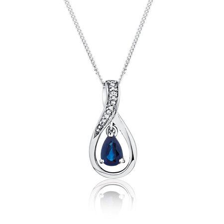 Pendant with Sapphire & Diamonds in 10ct White Gold