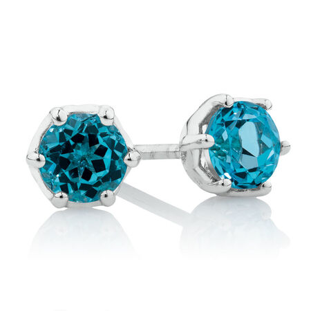 Stud Earrings with Blue Topaz in 10ct White Gold