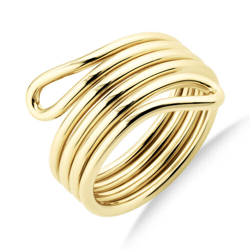 Double Loop Slim Ring In 10Ct Yellow Gold