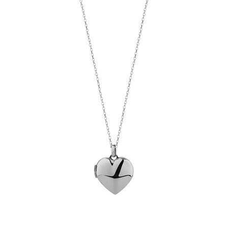 Heart Locket Pendant in 10ct White Gold