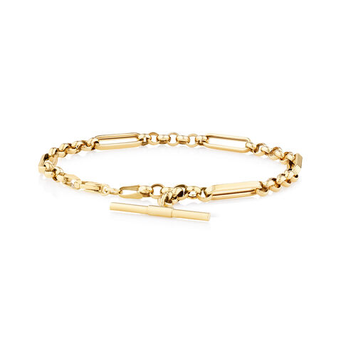 19cm Hollow Fob Bracelet in 10ct Yellow Gold