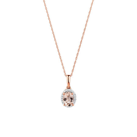 Pendant with Morganite & Diamonds in 10ct Rose Gold