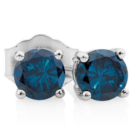 Stud Earrings with 0.96 Carat TW of Enhanced Blue Diamonds in 10ct White Gold