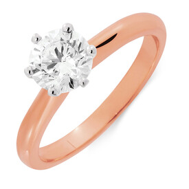 Certified Solitaire Engagement Ring with 1 Carat TW Diamond in 18ct Rose & White Gold
