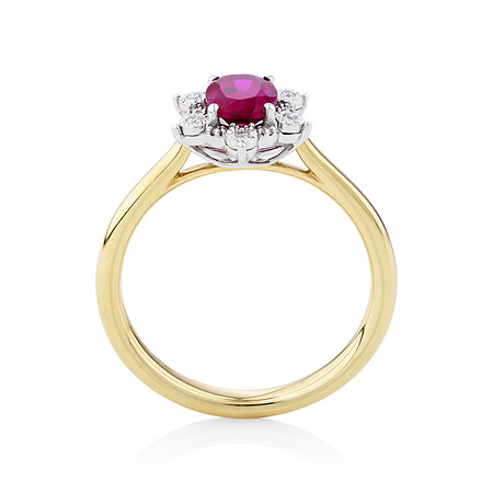 Created Ruby Halo Ring With 0.05 Carat of Diamonds in 10ct Yellow & White Gold