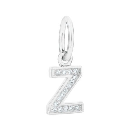 """Z"" Initial Mini Pendant with Cubic Zirconia in Sterling Silver"
