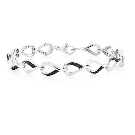Online Exclusive - Bracelet with 0.20 Carat TW of Enhanced Black Diamonds in Sterling Silver