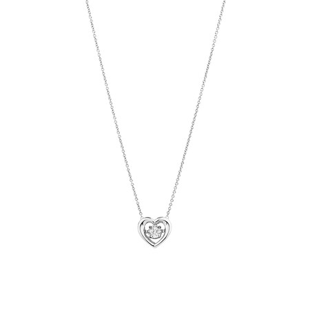 Everlight Heart Pendant with Diamonds in Sterling Silver
