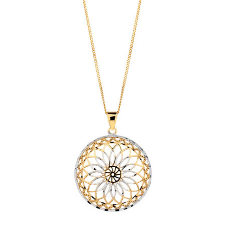 Pendant in 10ct Yellow & White Gold