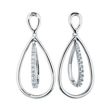 Online Exclusive - Drop Earrings with Diamonds in Sterling Silver