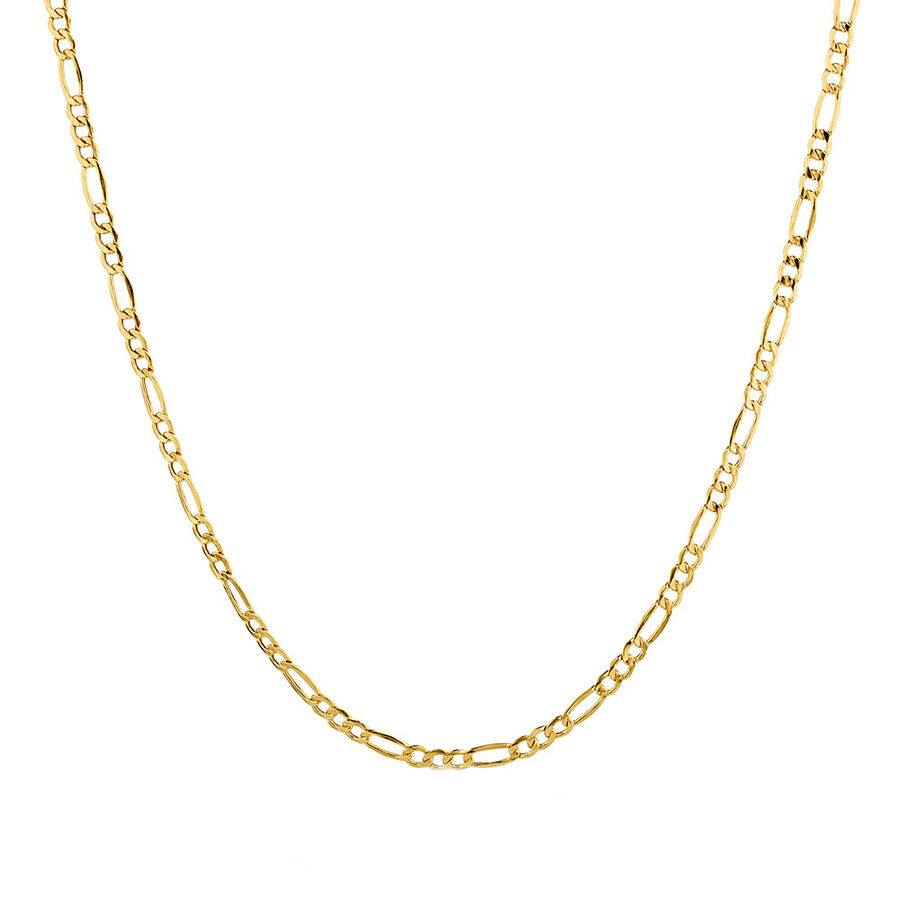 """50cm (20"""") Hollow Figaro Chain in 10ct Yellow Gold"""