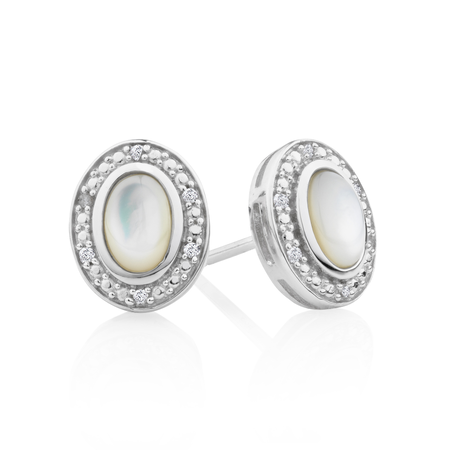 Halo Earrings with Mother of Pearl & Diamonds in Sterling Silver
