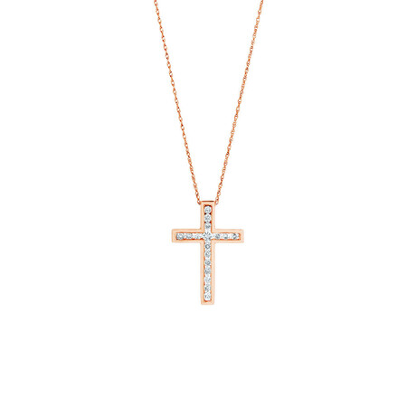 Cross Pendant in 10ct Rose Gold With 0.34 Carat TW of Diamonds