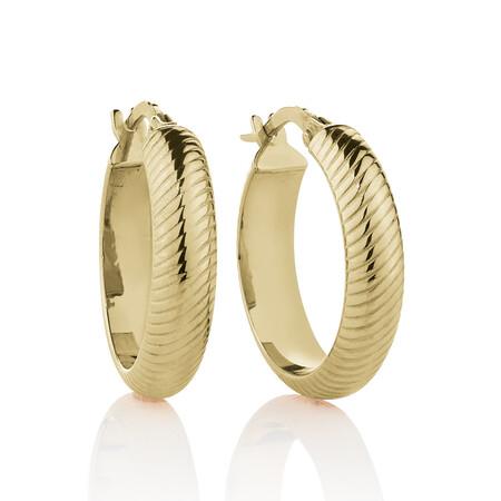 18mm Patterned Hoop Earrings in 10ct Yellow Gold