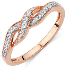 Ring with Diamonds in 10ct Rose Gold