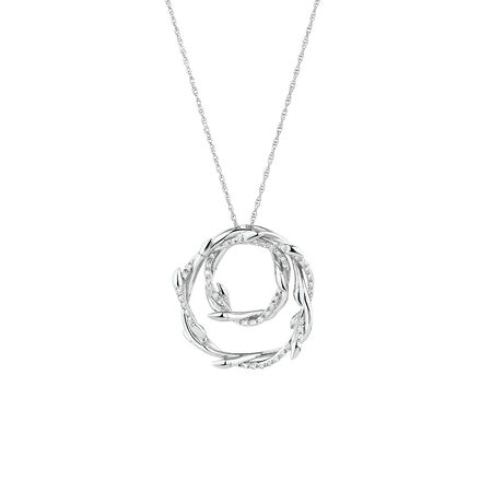 Willow Double Pendant with 0.13 Carat TW of Diamonds in Sterling Silver