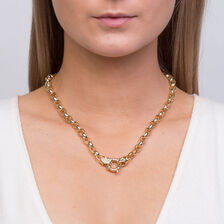Diamond Set Hollow Belcher Chain in 10ct Yellow Gold
