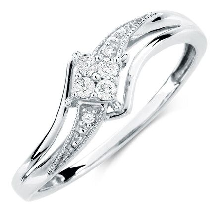 Promise Ring with Diamonds in 10ct White Gold