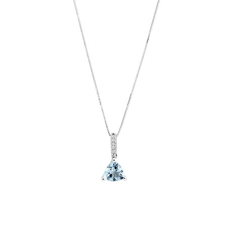 Pendant with Aquamarine with Diamonds in 10ct White Gold