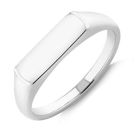 Men's Rectangle Signet Ring In Sterling Silver