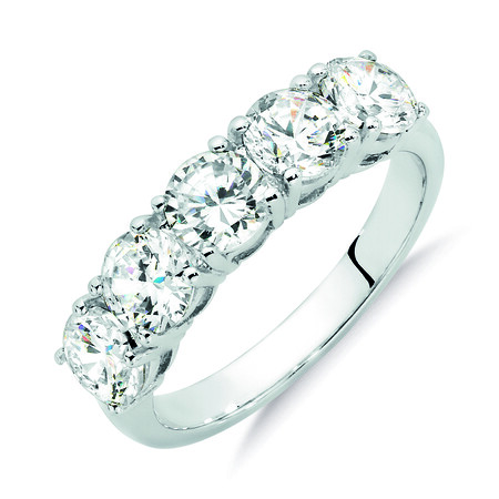 5 Stone Set Ring with Cubic Zirconia in Sterling Silver