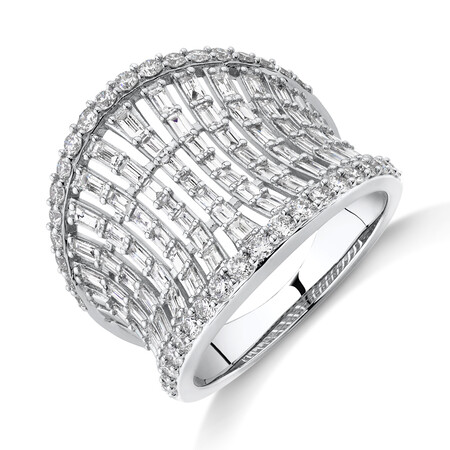 Concave Ring with 1.50 Carat TW of Diamonds in 14ct White Gold