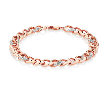 Bracelet with 1/4 Carat TW of Diamonds in 10ct Rose Gold