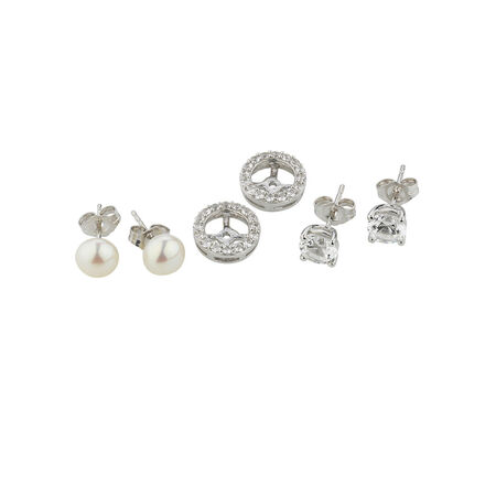 Online Exclusive - Earrings Set with Cultured Freshwater Pearl & Created White Sapphire in Sterling Silver