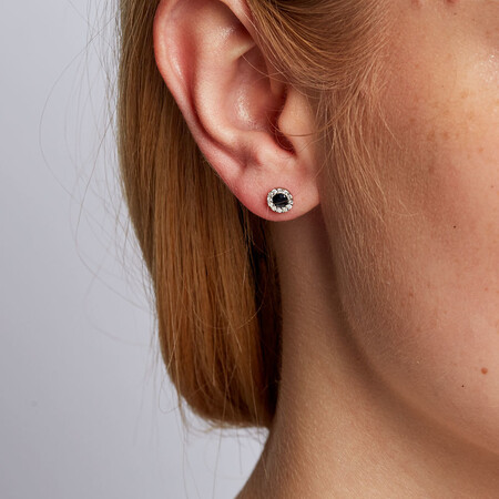 Stud Earrings with Sapphires & Diamonds in 10ct White Gold