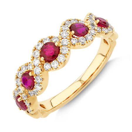 Bubble Ring with Natural Ruby & 0.46 Carat TW of Diamonds In 14ct Yellow Gold