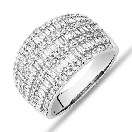 Multi Row Ring with 1.00ct TW of Diamonds in 14ct White Gold