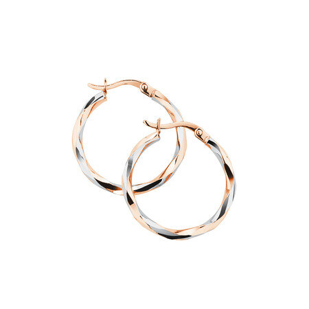 Twist Hoop Earrings in 10ct Rose & White Gold