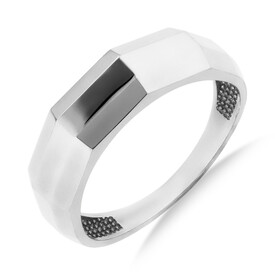 Oblong Faceted Ring in 10ct White Gold