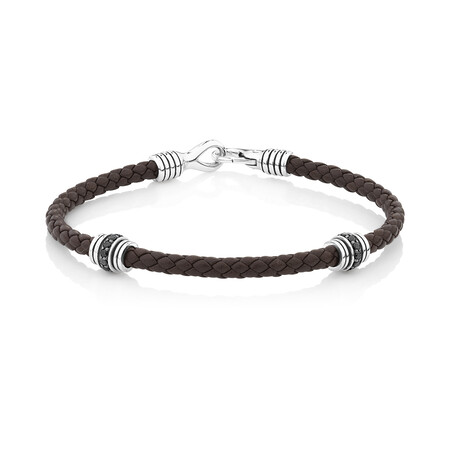 Black Leather Bracelet with Cubic Zirconia in Sterling Silver