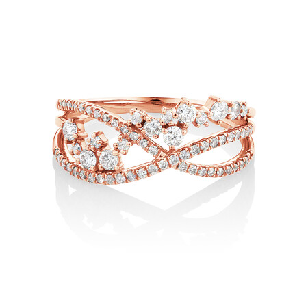 Ring with 0.50 Carat TW of Diamonds in 10ct Rose Gold