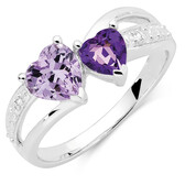 Ring with Amethyst & Diamonds in Sterling Silver