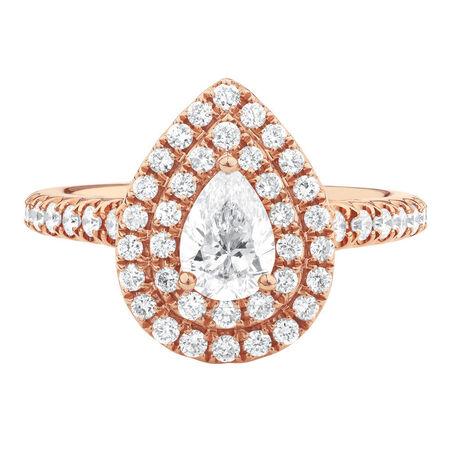 Sir Michael Hill Designer GrandArpeggio Engagement Ring with 1.21 Carat TW of Diamonds in 14ct Rose Gold