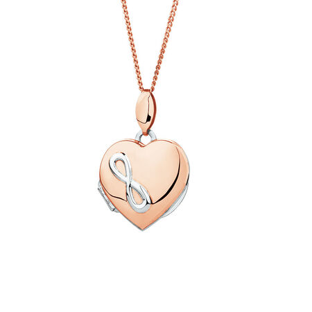 Infinity Heart Locket in 10ct Rose Gold and Sterling Silver