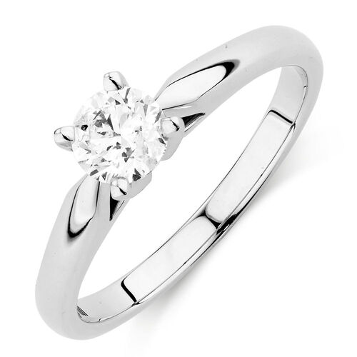 Evermore Solitaire Engagement Ring with a 1/2 Carat Diamond in 14ct White Gold