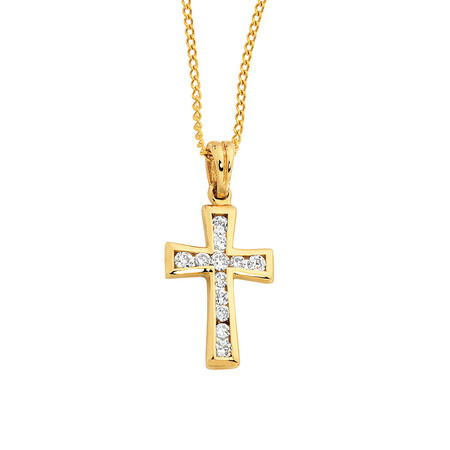 Pendant with Cubic Zirconia in 10ct Yellow Gold