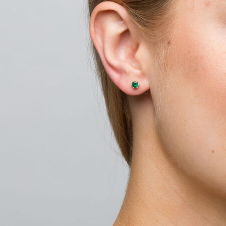 Stud Earrings with Created Emerald in 10ct Yellow Gold