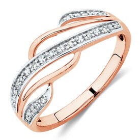 Swirl Ring with Diamonds in 10ct Rose Gold
