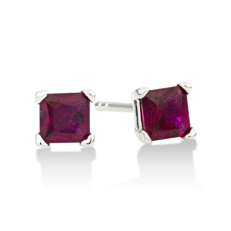 Square Stud Earrings with Ruby Cubic Zirconia in Sterling Silver