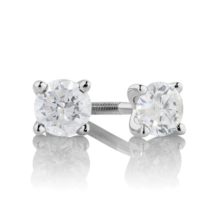 Stud Earrings with 0.50 Carat TW of Diamonds in 14ct White Gold