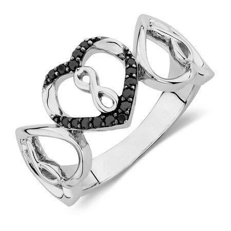 Online Exclusive - Infinitas Ring with Enhanced Black Diamonds in Sterling Silver
