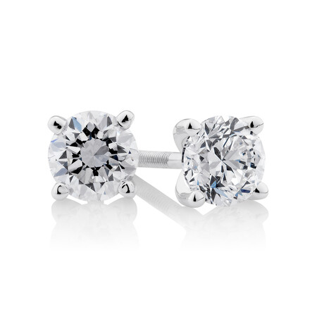 Certified Solitaire Stud Earrings with 0.70 Carat TW of Diamonds in 14ct White Gold