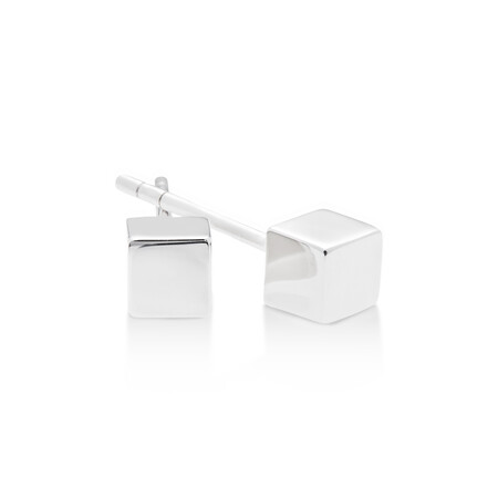 Round Disc Polished Stud Earrings in Sterling Silver
