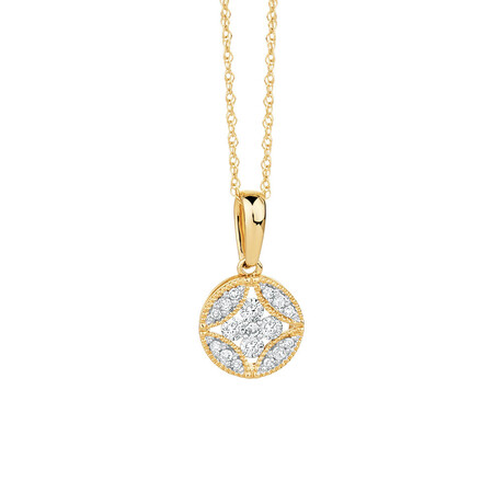 Pendant with 0.18 Carat TW of Diamonds in 10ct Yellow Gold