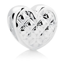Wild Hearts Heart Charm in Sterling Silver