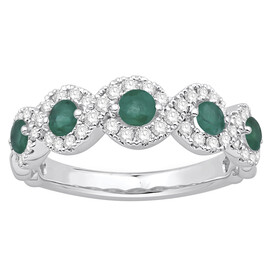 Ring with Natural Emerald & 0.46 Carat TW of Diamonds in 14ct White Gold